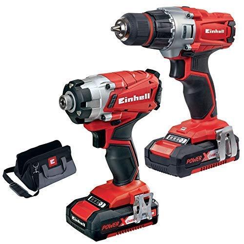 Einhell 4257232 kit avvitatore, 250 v, rosso/nero, nuovo modello con trapano e 2x batteria da 1,5 ah