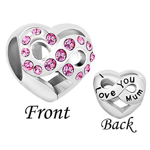 LuckyClover Jewellery Mum Charm Fit Pandora Charm Bracelets (Pink)