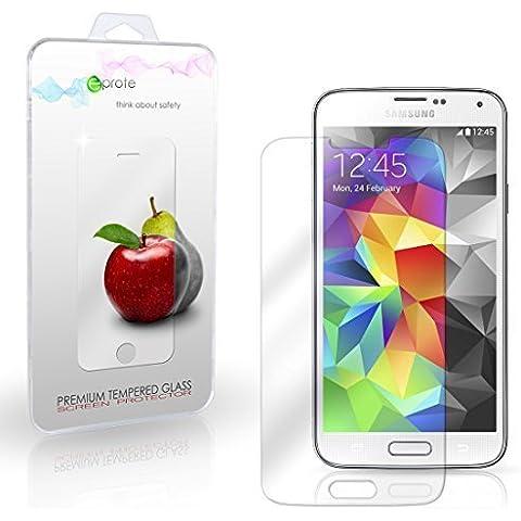 eProte Vidrio Templado Protector de Pantalla para Samsung Galaxy S5 / S5 Duos / S5 Neo - Dureza del vidrio 9H, Anti-golpe, Anti-rayado, Revestimiento oleofóbico, anti-huellas dactilares, Fácil de limpiar, Transparencia HD y Delicado al tacto, Espesor óptimo de 0.33 mm, los bordes redondeados de 2.5D (Samsung S5)