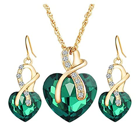 Lalang Rhinestone Necklace and Earrings Set Heart Necklace Pendants (green)