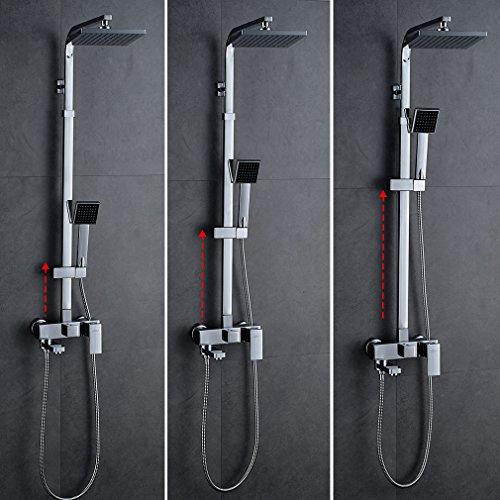 Auralum Duschsäule Regendusche mit Armatur Wasserfall Duschsystem Duschset mit Handbrause Duscharmatur Duschkopf Brauseset 3 Wasserspiele