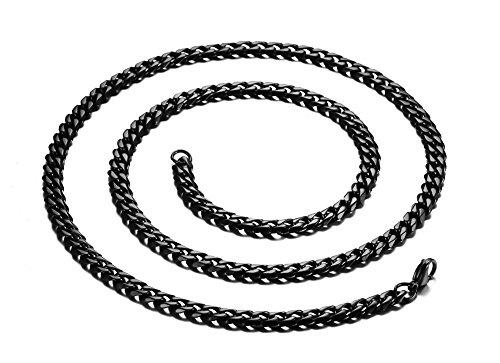 Vnox Panzerkette Halskette, Edelstahl, Schwarz, 7mm breit, 60cm (Diamant Großen Herren)