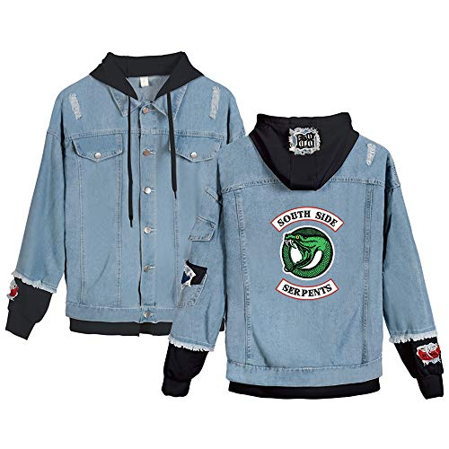 new products 0c085 2475e EnjoyYourLife Riverdale Serpents Giacca Jeans Riverdale Southside Serpents  Felpa Donna Felpa con Cappuccio Casual Denim Jacket Manica Lunga Loose ...