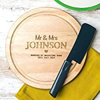 Personalised Wedding Anniversary Gift - Engraved Cheese or Chopping Board - Round WOOD and SLATE Available