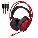 VersionTECH. Gaming Headset Kopfh?rer Stereo Noise Isolation Over-Ear-Headset mit Mikrofon LED-Licht Lautst?rkeregelung f¨¹r PC Laptop Computer Gamer, Rot