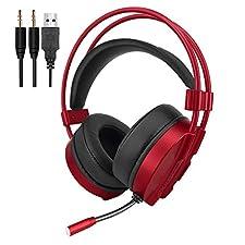 VersionTech Gaming Headset Kopfhörer Stereo Noise Isolation Over-Ear-Headset mit Mikrofon LED-Licht Lautstärkeregelung für PC Laptop Computer Gamer, Rot