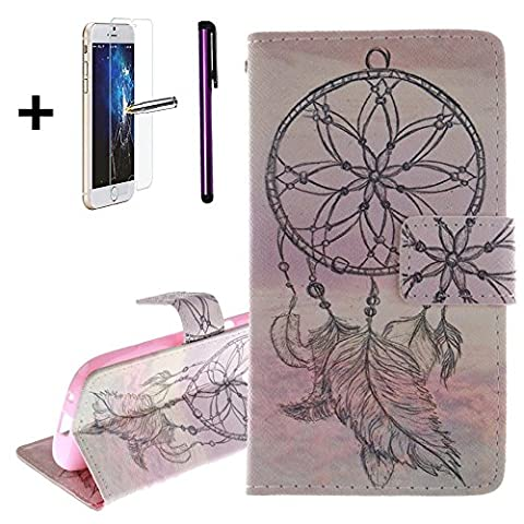 Samsung Galaxy Ace 4 Leather Case Wallet Flip Cover [Free Tempered Glass Screen Protector + 1 Stylus Pen] NEWSTARS New Fashional Colorful Funny Cute Pattern Print Printing Full Body Design - Ultra Slim Fit - Viewing Stand - Card Slots - Hand Strap - Premium PU Leather Case for Samsung Galaxy Ace 4 G357/G357FZ. PU- Pink Campanula