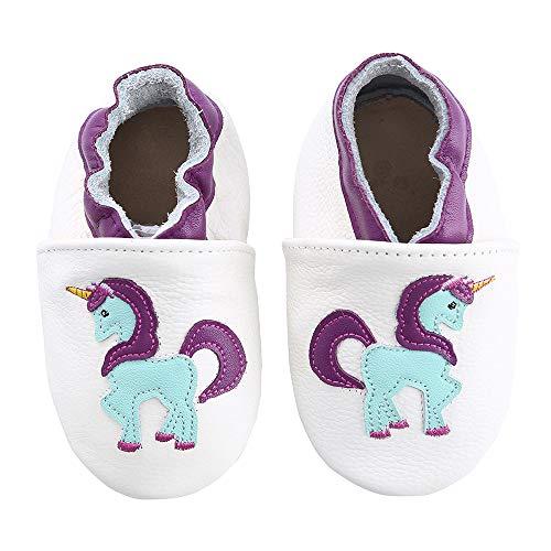 KOSHINE Weiches Leder Krabbelschuhe Baby Schuhe Kinder Lauflernschuhe Hausschuhe 0-3 Jahre (0-6 Monate, Weiß Einhorn)