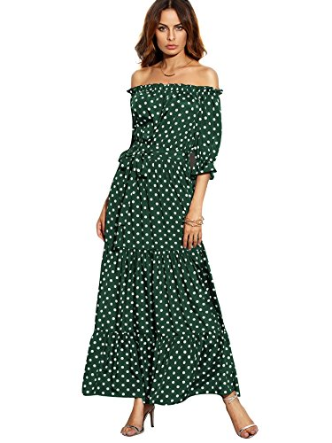 SOLYHUX Mujeres Vestido midi Con Lunares,Volantes Y Escote Bardot Para Vacaciones, Verde XS