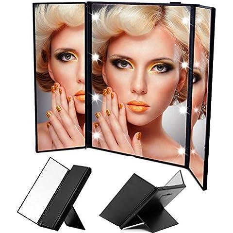 URAQT Espejo plegable portátil de la lámpara LED Espejo tocador 2 veces de aumento Espejo LED para Mujer / madre / novia / Navidad / Día de la Madre / Día de San Valentín / turismo