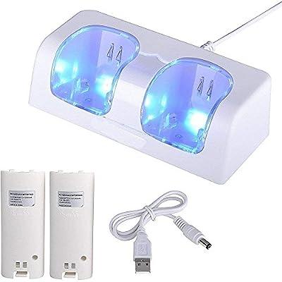 CamKing Station de charge double avec 2 piles rechargeables et lampe LED pour télécommande Wii/Wii U, blanc - (contrôleurs Wii originaux non inclus) Emballage au détail par Camking