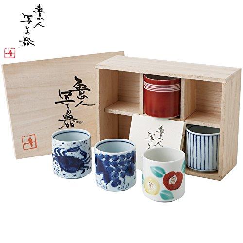[Juego de 5] japonesa Mino-yaki cerámica taza de té Set–Kitaoji rosanjin inspiración–por Okura cerámica l-1024