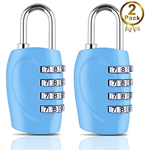The Ultimate 4 Digit Combination Lock Padlock Set for School GYM & Sports Locker Cabinet Drawer Toolbox Suitcase Luggage - Not TSA Approved Lock (Blue 2 Pack) ¡