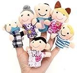 cooplay Lot de 6Marionnettes Doigts Famille Jeu Chiffon en peluche pour bébé Jouets Doux fait à la main