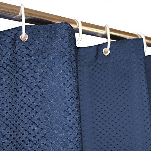 Eforcurtain, tenda da doccia per hotel, in tessuto waffle a griglia robusto, tenda da bagno in tessuto impermeabile e antimuffa, poliestere, stone blue, 72x78