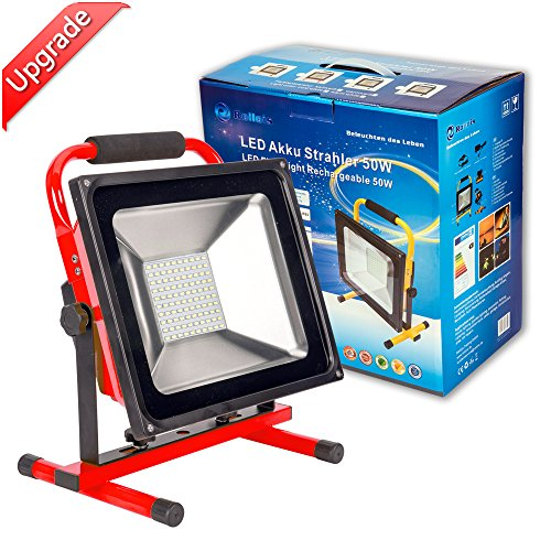 LED Arbeitsleuchte Akku Baustrahler - ROS50R(Upgrade) 50W Akku Lampe, 2 Dimmstufen bis zu 8 Stunden Leuchtdauer, 3500 Lumen Super hell, IP65 Wasserdicht von Roilois GmbH