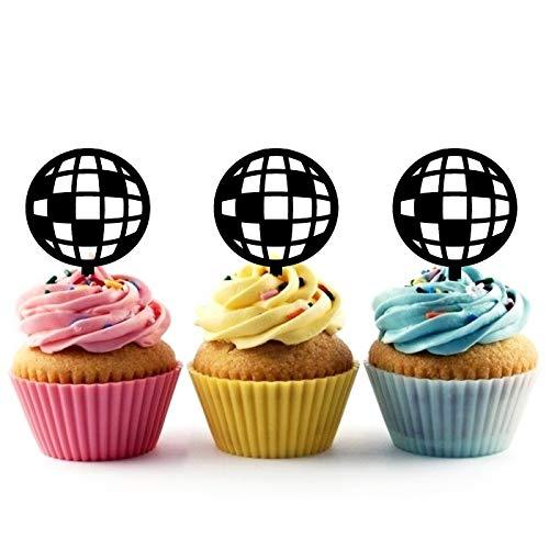 Innovedesire Disco Ball Kuchenaufsätze Hochzeit Geburtsta Acryl Dekor Cupcake Kuchen Topper Stand für Kuchen Party Dekoration 10 Stück