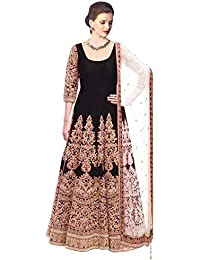 Salwar Villa Women's Gown Latest Party Wear Designer Benglory Silk Embroidery Semi Stitched Free Size Salwar Suit...