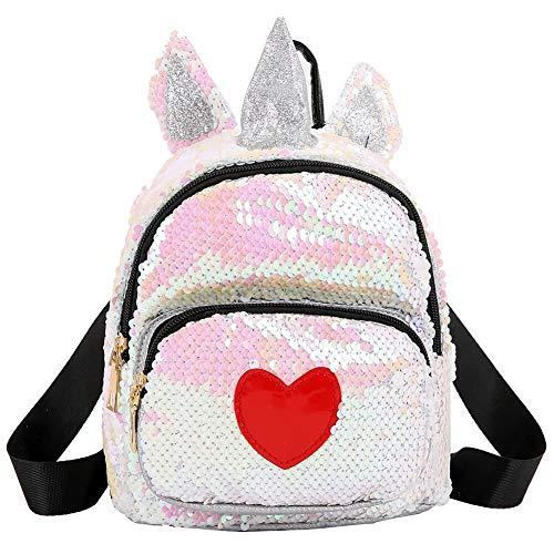 Demiawaking Zaino con Paillettes Glitterati Zainetto con Orecchie e Corna di Animali Zaino da Viaggio Casual Borsa da Scuola per Bambina Ragazze (Bianco)