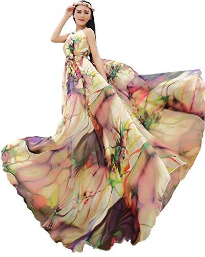 Medeshe Damen Neckholder Kleid mehrfarbig mehrfarbig Gr. 32 Nach 42, Länge: 120 cm, Tropical Color