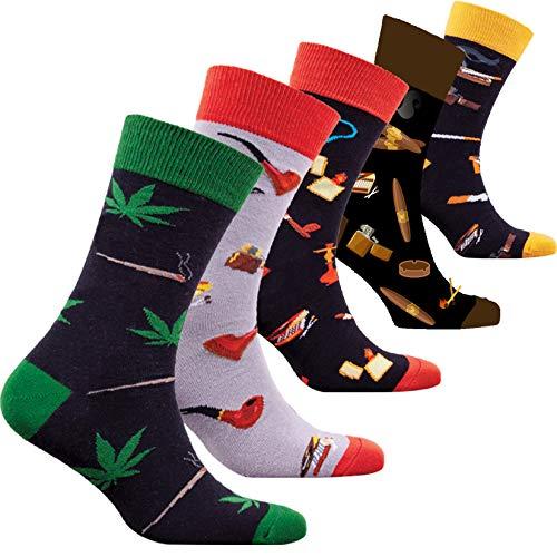 socks n socks-Hombres 5 pares Colorido Algodón Novedad Fumar Mota Pipa María...