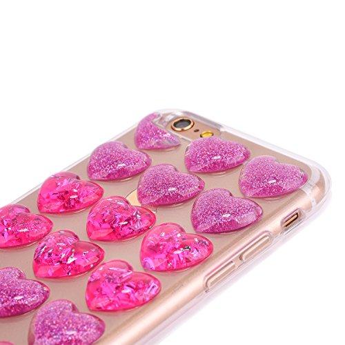 iPhone 6s Schutzhülle, Elegante Pinke Blumen-Serie CLTPY iPhone 6 Durchsichtig Silikon Schale Fall mit Luxus Bunter Liebesmuster für Apple iPhone 6/6s + 1 x Freier Stylus Doppelt Rosa