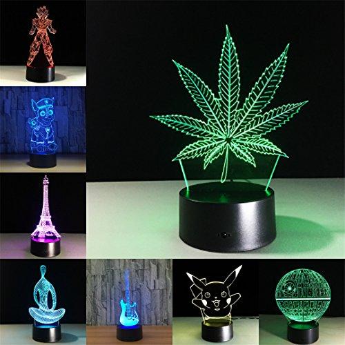 GJHWJFF Feuille D'éRable L'Illusion Visuelle 3D Acrylique Transparent Lampe Nuit LumièRe Lampe Led Changement De Couleur 7 Lampe De Table Tactile Mini Lampe De Lave 7 Couleurs Changent Le Yoga