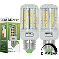 MENGS® Pack de 2 Regulable Bombilla lámpara LED 15 Watt E27, 96x 5730 SMD, blanca cálida 3000K, AC 220-240V