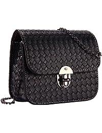 Bolsos de mujeres - TOOGOO(R) Bolsos de mujeres de mensajero de viajes trabajo Bolsa bolso de bandolera Bolso de monedero de cerradura de giro (Negro)