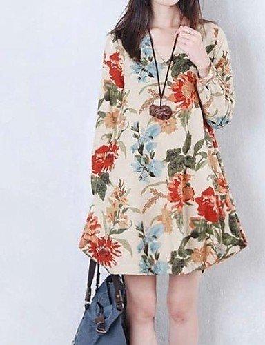 PU&PU robe col rond pour femmes, coton-dessus du genou à manches longues beige-xl