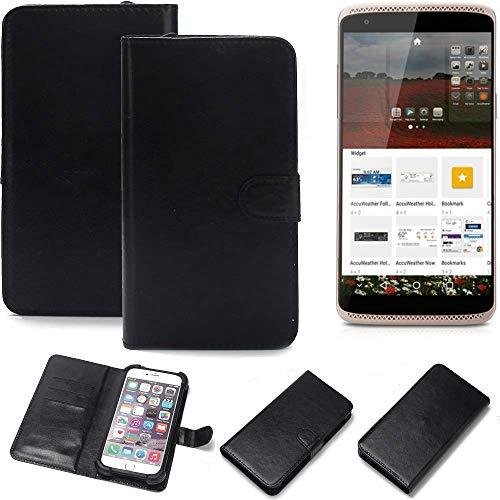 K-S-Trade Wallet Case Handyhülle ZTE Axon Mini Premium Edition Schutz Hülle Smartphone Flip Cover Flipstyle Tasche Schutzhülle Flipcover Slim Bumper schwarz, 1x