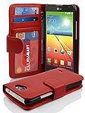 Cadorabo Hülle für LG L70 Hülle in Inferno Rot Handyhülle mit 3 Kartenfächern Case Cover Schutzhülle Etui Tasche Book Klapp Style Inferno-Rot