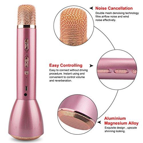 Bluetooth Mikrofon, Drahtlos Karaoke Mikrofon Batterie Mikrofon Kabellos Anlage mit Lautsprecher für Erwachsene Kinder die Aufnahme von Gesang und Sprache KTV Karaoke Player kompatibel PC, Laptop, iPhone, iPod, iPad, Android Smartphon - 3