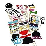 TinkSky 60pcs Accessoires Photobooth Masquerade Accessoires de Photos Lèvre/ Lunettes/ Cravate/ Couronne/ Lunettes/ Moustache Avec Bâton
