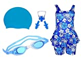 #6: Swimming kit for Girls with 1 Girls Swimwear, 1 Silicone Swim Cap, 1 Goggle, 2 Pair Ear Plugs and 1 Nose Clip Combo (Blue)
