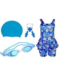 Golden Girl Girls Swimming Kit (Light Blue_10-11 Years)