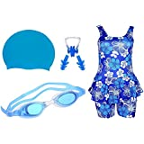 Swimming Kit For Girls With 1 Girls Swimwear, 1 Silicone Swim Cap, 1 Goggle, 2 Pair Ear Plugs And 1 Nose Clip Combo (Blue)