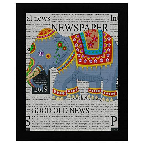 Wandkunst für Männer Cartoon Elefant indischen klassischen traditionellen Kostüm Wandkunst für Schlafzimmer 17 x 13 Zoll gerahmte Print Kunstdruck Vintage Wörterbuch Buch Zeitung Seite Kunstdruck Wan (Schlafzimmer Männer Kostüme Für)