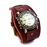 YHLU Herren Armband Lederarmband, mit verstellbare Vintage Manschette Armbanduhr, Unisex 10 Zoll,Red