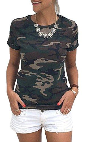 La mode des femmes ras du cou à manches courtes impression camouflage en vrac T-shirt décontracté Vert