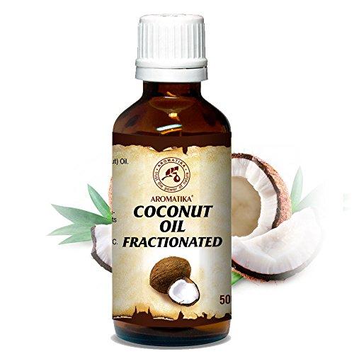 Olio di Cocco Frazionato 50ml Naturale e Puro al 100% La Pelle Morbida ed Elastica Cura di Capelli Corpo & Unghie Perfetto come Balsamo Aromaterapia