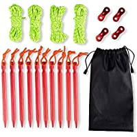 10 Pack 18cm Aluminum Tent Pegs Stakes & 4 Pcs 4mm Reflective Guy lines with Cord Adjuster & Pouch for Hiking Camping Mountaineering