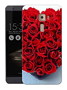 "Humor Gang Roses In A Heart Printed Designer Mobile Back Cover For ""Asus Zenfone 3 Deluxe"" (3D, Matte Finish, Premium Quality, Protective Snap On Slim Hard Phone Case, Multi Color)"