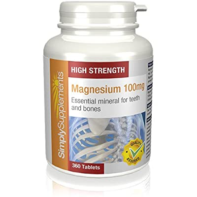 Magnesium 100mg | 360 Tablets | High Strength | Healthy Bones - Energy - Endurance | 100% money back guarantee | Manufactured in the UK from Simply Supplements
