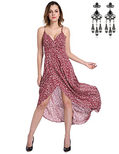 MODETREND Damen Strandkleid mit Tief V-Ausschnitt Rückenfrei Schlinge Geblümt Sommerkleid Ballkleid Kleider Rot