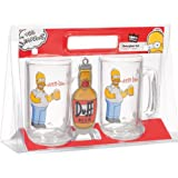 United Labels 117604 2-teiliges Biergläser Set mit Öffner -Simpsons - jeweils 330 ml
