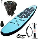 Aquaparx Sup 305 x 71 x 10 cm Inflatable Isup Aufblasbar Alu-Paddel Marin Rucksack Pumpe Stand Up Paddle Board Set, türkis-blau/Schwarz
