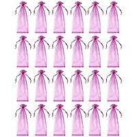 24unidades vino bolsas de Organza–bolsas de Organza de cordón, bolsa de regalo de vino para decoración, tienda pantalla, bolsas de regalo, recuerdo de la fiesta, Rosa–14,7x 5,2pulgadas