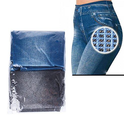 Damen Jeggings 2 stk. (Schwarz + Blau) Herbst skinny Leggings Jeans Look stretch Leggins elastisch Treggings dehnbar Schwarz + Blau