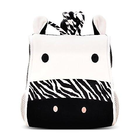 BELK Little Boys' Cool Animal Pack Sidekick Backpack Small Kid Toddler Childrens School Lunch Bag with Tote Hand, Water Cup / Bottle Holder - Stripe Zebra